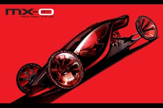 La Mazda MX-0 est électrique et ultralégère. Sa parenté avec l'actuelle MX-5 est difficile à percevoir... © Mazda