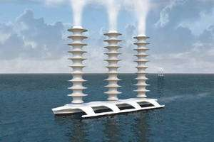 Un des multiples projets de géo-ingénierie : le catamaran imaginé par Stephen Salter. Il pompe de l'eau de mer et rejette de la vapeur d'eau qui se transformera en nébulosité réfléchissant les rayons solaires. Des milliers de ces usines à fabriquer les nuages navigueraient sur l'océan mondial et rafraîchiraient l'atmosphère. © J. MacNeill 2006