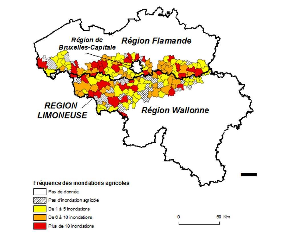 Carte de la fréquence des inondations boueuses dans le centre de la Belgique au cours d'une période de 10 ans (1991-2000 en Wallonie ; 1995-2004 en Flandre. © Evrard, 2008