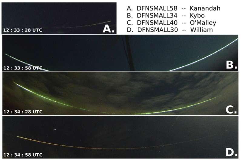 Observation à longue exposition du passage de la météorite nommée DN170707_01. L'événement a duré plus de 90 secondes et s'est étendu sur quatre images de 30 secondes (A, B, C, D). La boule de feu a d'abord été observée à 85 km d'altitude, puis s'est enfoncée à 58 km avant de s'échapper de l'atmosphère terrestre. Sa vitesse initiale était de 16,1 km/s, et sa vitesse de sortie d'environ 14,6 km/s, à droite (d'ouest en est). © Patrick Shober et al, ArXiv, 2020
