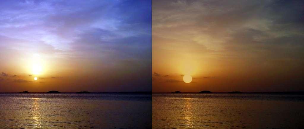 Une comparaison entre deux couchers de soleil : sur la gauche, la Terre et à droite, Proxima b, dans l'hypothèse où l'exoplanète serait bien habitable et porterait des océans. © PHL, @ UPR Arecibo.