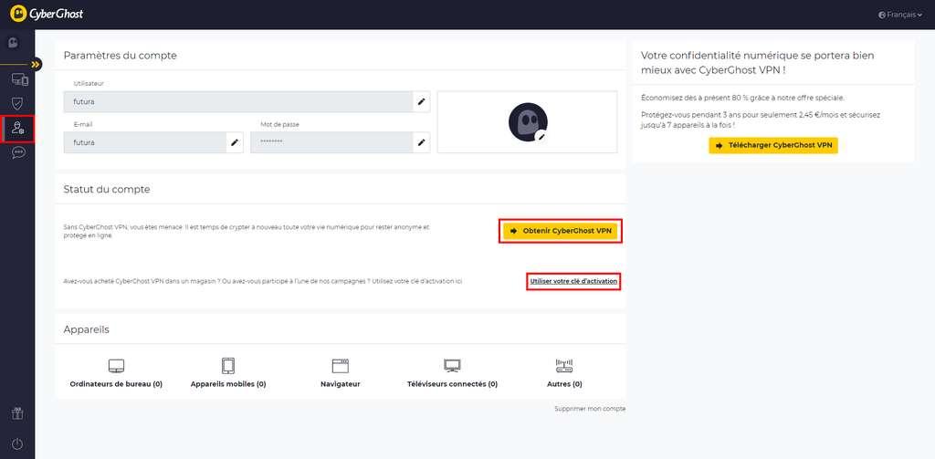 Cliquez sur « Obtenir CyberGhost VPN » pour souscrire au service. © CyberGhost VPN