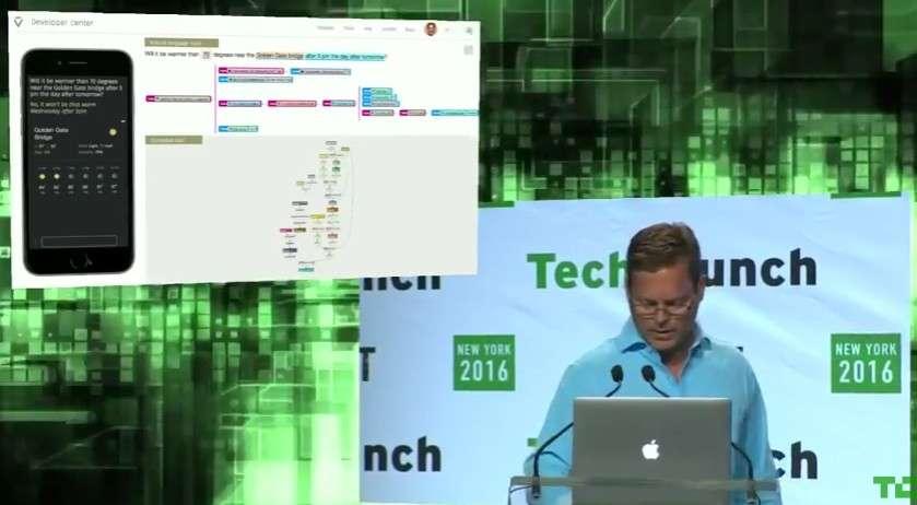 Lors de la présentation de Viv, Dag Kittlaus, l'un des inventeurs de Siri, a montré de quelle manière son nouvel assistant génère un code qui aidera les développeurs à voir comment il comprend et traite une demande. © Viv, TecCrunch Disrupt