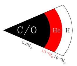 Une coupe classique d'une naine blanche pesant guère plus que 0,6 fois la masse du Soleil avec un cœur composé essentiellement de noyaux de carbone (C) et d'oxygène (O) entouré des couches d'hélium (He) et d'hydrogène (H). © University of Hertfordshire