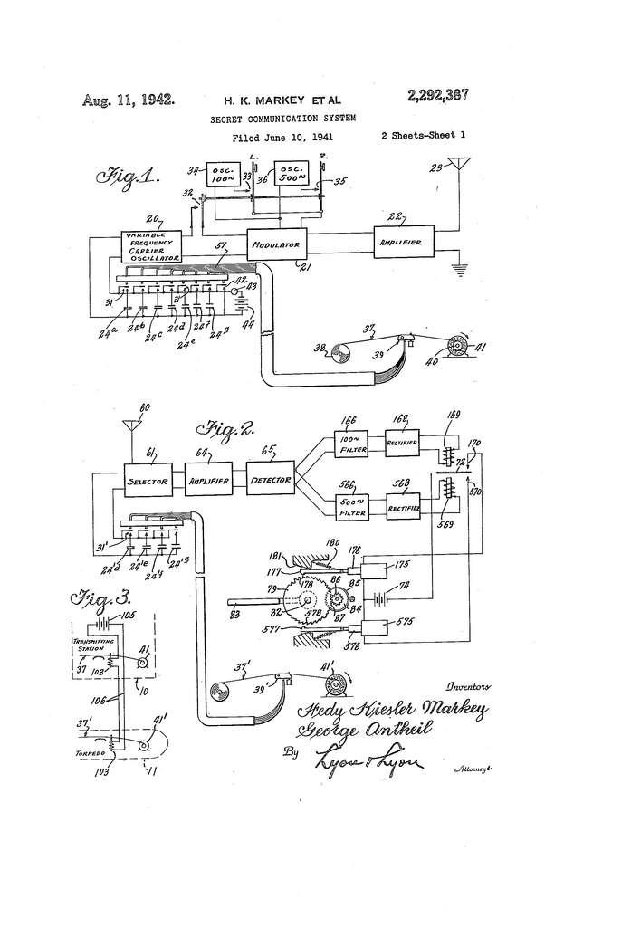 Un extrait du brevet déposé par Hedy Lamarr et George Antheil. © US Patent Office