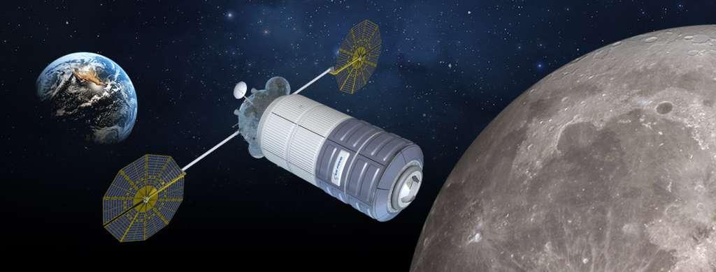 Le vaisseau d'exploration dérivé du Cygnus d'Orbital ATK qui se compose d'un module de service et d'un module pressurisé développé par Thales Alenia Space. © Thales Alenia Space