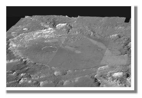 Site Gusev : Autre vue du site d'atterrissage de Spirit. On aperçoit en haut à gauche de l'image la trace de l'ancienne vallée de débâcle qui a du remplir d'eau ce cratère il y a quelques milliards d'années. © NASA