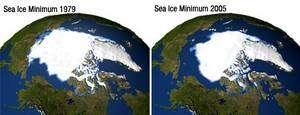 Minimums annuels d'extension de la calotte glaciaire à 25 ans de distance, en 1979 et en 2005. Crédit : Nasa.