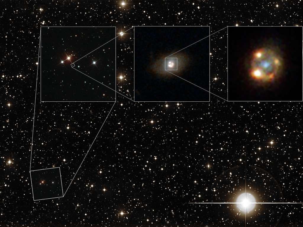Une galaxie à l'avant-plan a grossi 42 fois les images d'une supernova SN Ia par effet de lentille gravitationnelle. On voit plus de quatre images de la supernova iPTF16geu sur cette photo composite en haut à droite. Elles sont sur un cercle de 3.000 années-lumière de diamètre, ce qui correspond à l'une des plus petites lentilles gravitationnelles fortes connues à ce jour. © ESA, Hubble, Nasa, Sloan Digital Sky Survey, Palomar Observatory, California Institute of Technology