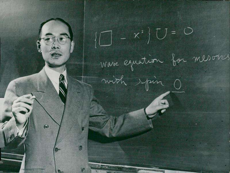 Le prix Nobel de physique Hideki Yukawa en 1949 à la Columbia University. © DP