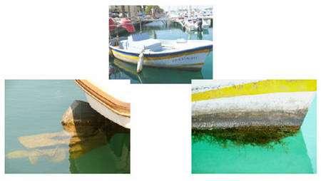 Toutes les surfaces immergées de cette petite barque de pêche sont colonisées, comme le moteur (photographie de gauche) ou l'avant de la coque (photographie de droite). © A. Simon-Levert