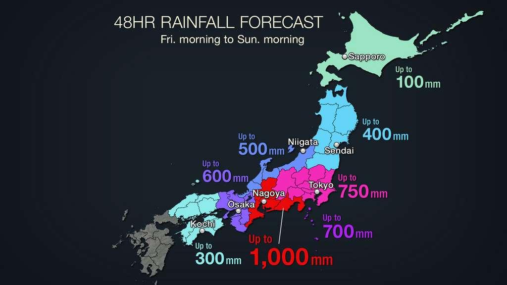 Les prévisions de chutes de pluie dues à Hagibis pour ce week-end — entre jeudi soir et samedi soir — sur le Japon. À comparer avec les quelque 630 mm de pluie qui tombent chaque année sur Paris! © Agence météorologique japonaise