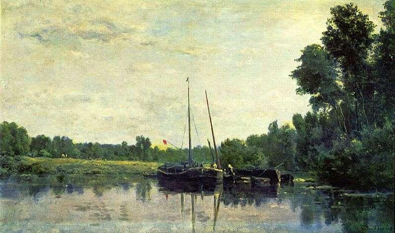 Bateaux sur l'Oise, par Charles-François Daubigny. Il est très tôt initié à la peinture par son père, Edmé-François Daubigny, et son oncle, Pierre Daubigny. © DP