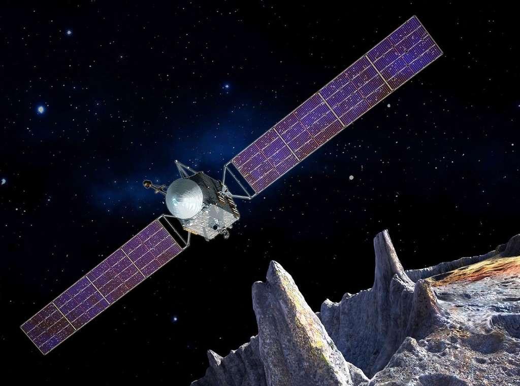 Une vue d'artiste de la mission Psyché au-dessus de son astéroïde cible. © Sw RI, SSL, Peter Rubin