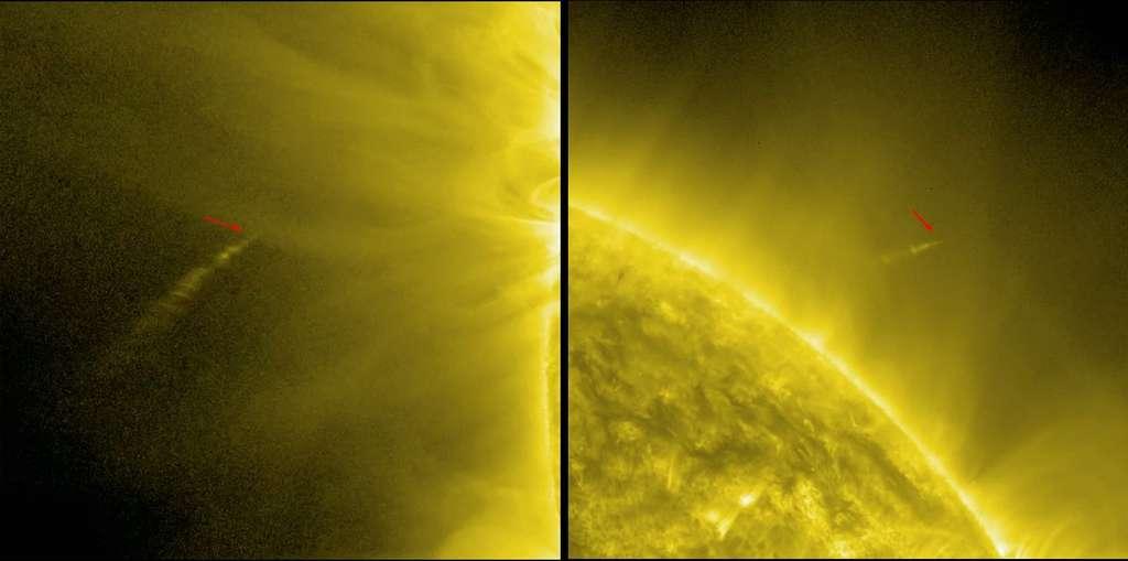 Fin novembre, la comète Ison sera à 1.2 million de km du Soleil. Les astronomes espèrent que cet astre chevelu fera aussi bien que Lovejoy (indiquée par une flèche dans ces deux images) qui, en décembre 2011, réussissait un redoutable examen de passage en survolant la surface solaire à seulement 140.000 km de distance. © Nasa, SDO