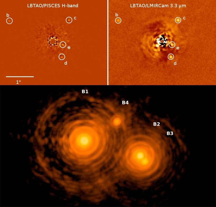 Des exoplanètes observées à proximité de leur étoile parente (ici les quatre planètes autour de HR 7899), un meilleur regard sur la formation des étoiles et un sondage très fin à l'intérieur d'un disque de débris entourant une étoile sont les sujets de cette première série de découvertes rendue publique par les astronomes utilisant le télescope géant LBT. © Large Binocular Telescope Consortium