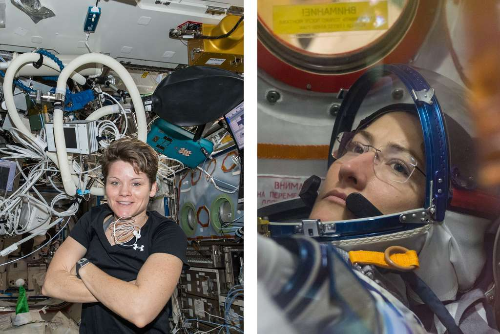 Anne McClain et Christina Koch formeront le premier binôme féminin à sortir à l'extérieur de la Station spatiale internationale. © Nasa