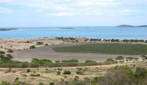 Petit tanne entre mangrove et terre ferme sur fond de lagon calédonien © JM Lebigre Reproduction et utilisation interdites