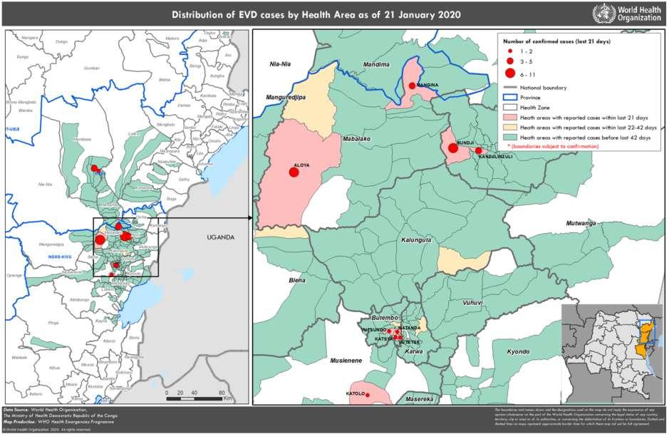 Cas confirmés et cas probables de maladie à virus Ebola en fonction de la semaine d'apparition de la maladie, par zone de santé. Données au 21 janvier 2020. © OMS