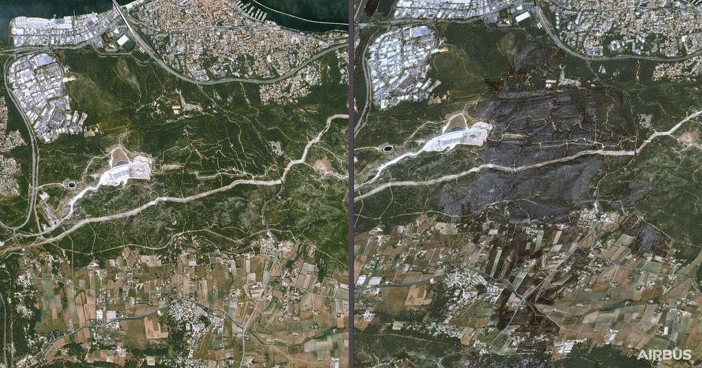 Images satellites avant-après sur la zone de Martigues, touchée par un important feu de forêt les 4 et 5 août. © Cnes 2020, Distribution Airbus DS