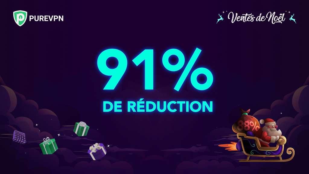 À l'occasion des fêtes de fin d'année, PureVPN propose une remise généreuse de 91 %. ©PureVPN