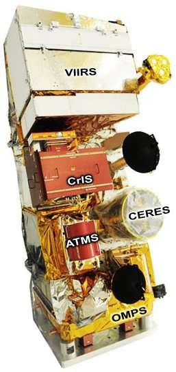 Le satellite NPP avec ses cinq instruments. © Nasa