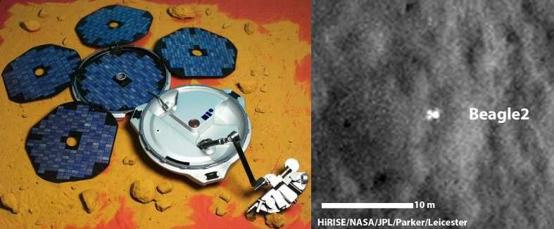 Un agrandissement (à droite) de l'image montrant l'atterrisseur britannique Beagle 2, qui a touché le sol de Mars le 25 décembre 2003 et dont on voit une maquette à gauche. Son nom rappelle le navire Beagle sur lequel Charles Darwin, dans les années 1830, effectua un voyage d'études sur la faune et la flore. © University of Leicester/ Beagle 2/Nasa/JPL/University of Arizona