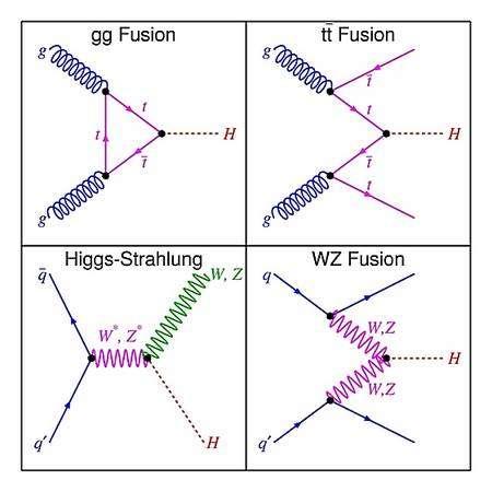 """Les diagrammes de Feynman des principales réactions qui doivent produire un boson de Higgs lors d'une collision au Tevatron. En haut à gauche deux gluons """"g"""" fusionnent par l'intermédiaire de la production de quarks et antiquarks top """"t"""" pour donner un boson de Higgs H. En bas, quark (q') et antiquark (q barre) produisent des boson W et Z lesquels donnent un boson de Higgs H. Crédit : Tommaso Dorigo"""