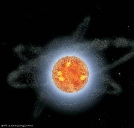 Cliquez pour agrandir. Une représentation d'artiste d'un magnétar. Remarquez l'enroulement compliqué des lignes de champs magnétiques causé par la rotation de l'astre. Crédit : Sky & Telescope, Gregg Dinderman