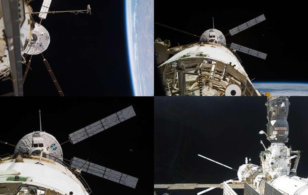 Amarrage au module de service Zvezda. La cible de visée est nettement visible sur l'ATV-2. © Nasa