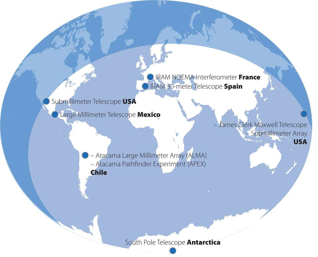 Le projet Event Horizon Telescope (EHT) associe des télescopes des deux hémipshères, jusqu'à l'Antarctique. © Iram
