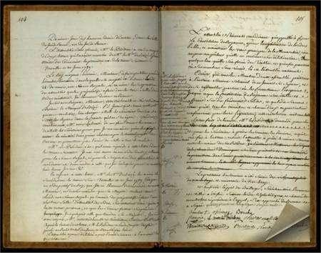 Le serment du Jeu de Paume, rédigé le 20 juin 1789 dans la salle du même nom, par les 577 députés du tiers état qui promettent de ne jamais se séparer avant l'adoption d'une constitution. © Assemblée nationale