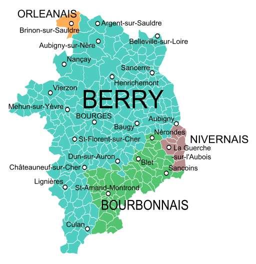 Carte des provinces qui occupaient le territoire du Cher avant la création des départements en 1790. Soit le Berry, le Bourbonnais, le Nivernais et l'Orléanais. © Oie Blanche, Wikipedia, cc by sa 3.0