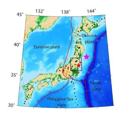 Carte montrant les quatre plaques qui forment le Japon. La plaque pacifique glisse sous celle d'Okhotsk. L'étoile rose montre l'épicentre du séisme du 11 mars 2011, la rouge celui du 11 avril 2011. Le carré rouge indique la ville de Fukushima. © Tong et al. 2012, Solid Earth