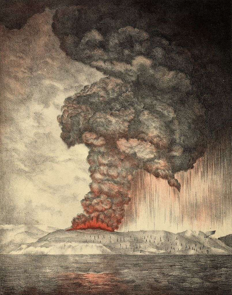 Lithographie de 1888 montrant la terrible explosion du volcan indonésien Krakatoa le 27 août 1883. © Parker & Coward