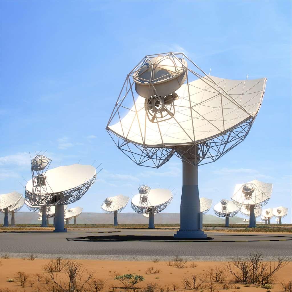 Un des deux champs d'antennes du SKA. À l'image, une partie des 200 paraboles de 15 mètres qui seront installées dans le désert du Karoo en Afrique du Sud. L'autre champ se situera en Australie. © SKA