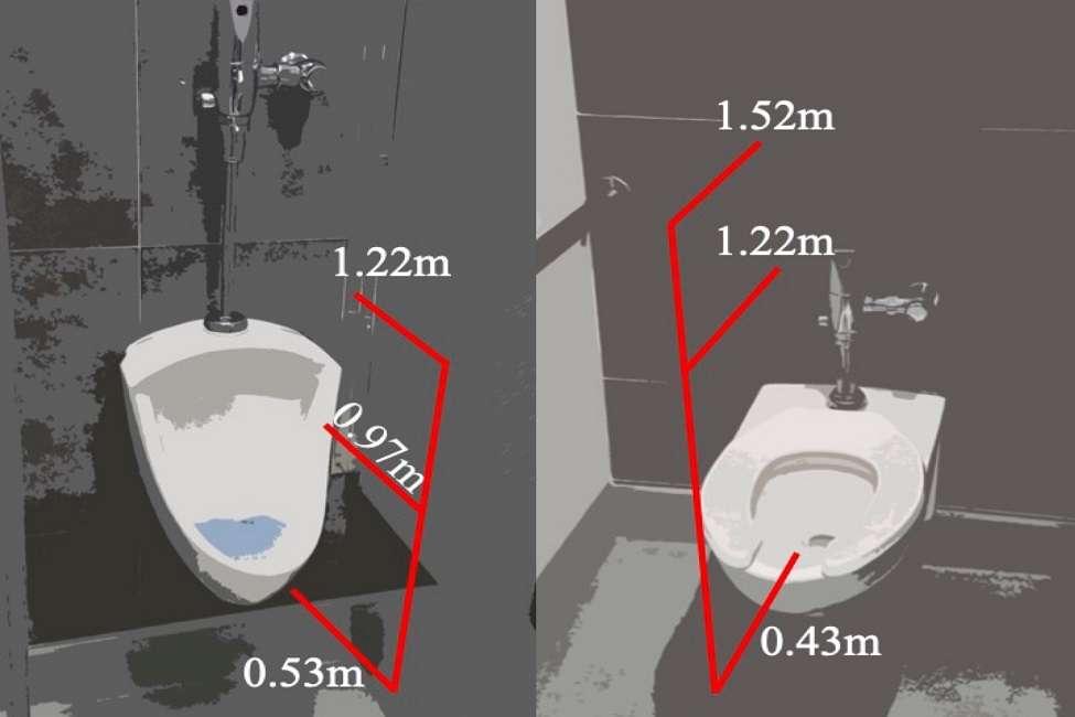 Des chercheurs de la Florida Atlantic University (États-Unis) ont mesuré la taille et la quantité de gouttelettes générées par un rinçage de toilettes ou d'urinoir à différentes hauteurs. © Florida Atlantic University