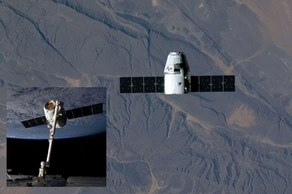 La capsule Dragon au-dessus de l'Afrique subsaharienne, en phase finale d'approche avant sa capture par le bras robotique de la Station spatiale (à gauche). À cause d'un problème technique, l'amarrage prévu samedi dernier a été reporté au lendemain. © Chris Hadfield