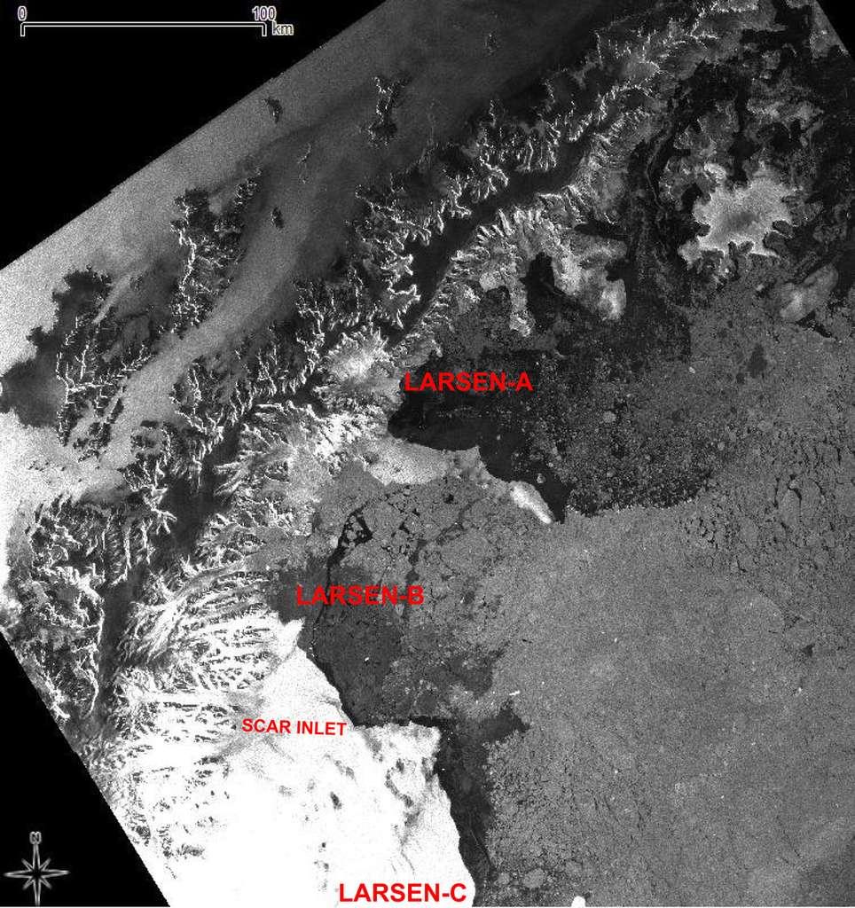 Image radar des 3 parties de la plateforme Larsen, en Antarctique, prise par Envisat le 19 mars 2012. © Esa