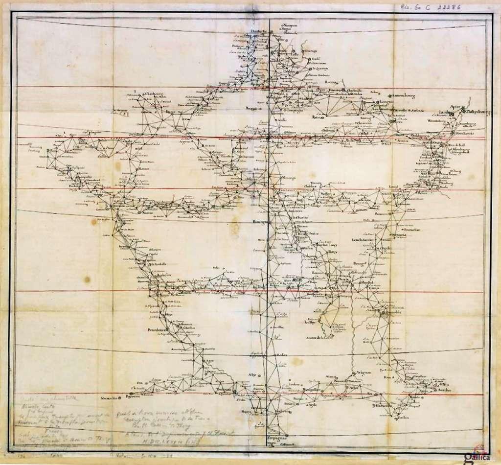 Premier canevas de triangulation de référence pour la future Carte de Cassini, par Cassini de Thury et Maraldi, 1744. Site Gallica, BnF. © Bibliothèque nationale de France, domaine public