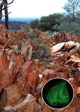 La région des Jack Hills, en Australie, où ont été découverts les plus vieux zircons connus sur Terre. En bas à droite, l'image au microscope d'un zircon vieux de 4,03 milliards d'années. Crédit : Nature-B. Watson & M. Hopkins