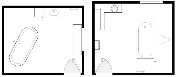 Aucune contrainte de place, l'espace est suffisamment grand pour envisager l'installation d'une baignoire îlot, d'intégrer un espace douche, multiplier les rangements et créer un discret espace toilettes. © Lapeyre