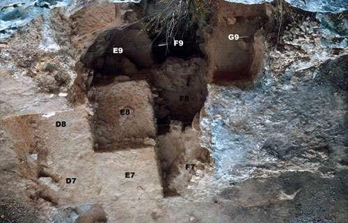 Photo 7 : Vue zénithale de la fouille montrant la double logique de la fouille en quinconce et en marches d'escalier. Le carré F9 est le plus bas. Aucun des quatre carrés le jouxtant ne le surplombe de plus d'un mètre cinquante. Les carrés E9 et F8 ont été descendus, puis ce sont maintenant les carré E8 et F7 qui sont en cours de fouille. © François Marchal Reproduction et utilisation interdites