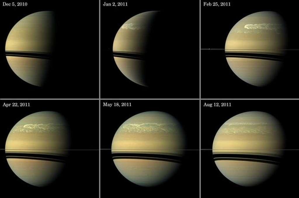 Huit mois de la vie d'une tempête sur Saturne. © Nasa/JPL-Caltech/Space Science Institute