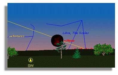 L'éclipse de Lune du 16 Mai 2003, vue à Paris, au moment du maximum de la Totalité, à 03h40 UT.La Lune n'est plus qu'à 4 degrés au-dessus de l'horizon. La fin de la phase de totalité, à 04h06 UT, a lieu avec une Lune à moins de 1 degré sur l'horizon.