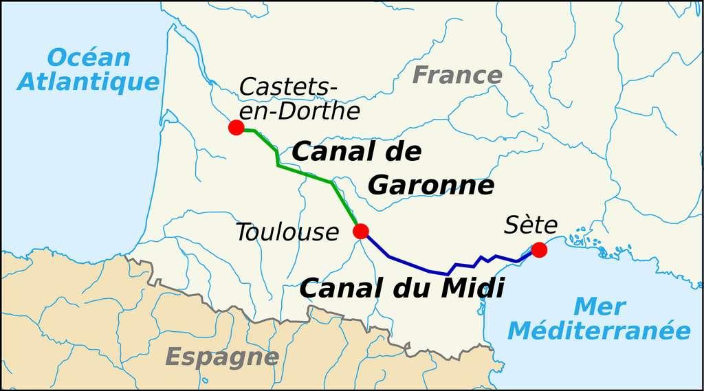 Carte : canal du Midi + canal de Garonne = canal des Deux Mers ; auteur Pinpin, 2007. © Wikimedia Commons, domaine public.
