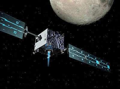 Lancée en septembre 2003, SMART-1 achevera sa mission par un bouquet final explosif (Crédits : ESA - AOES Medialab)