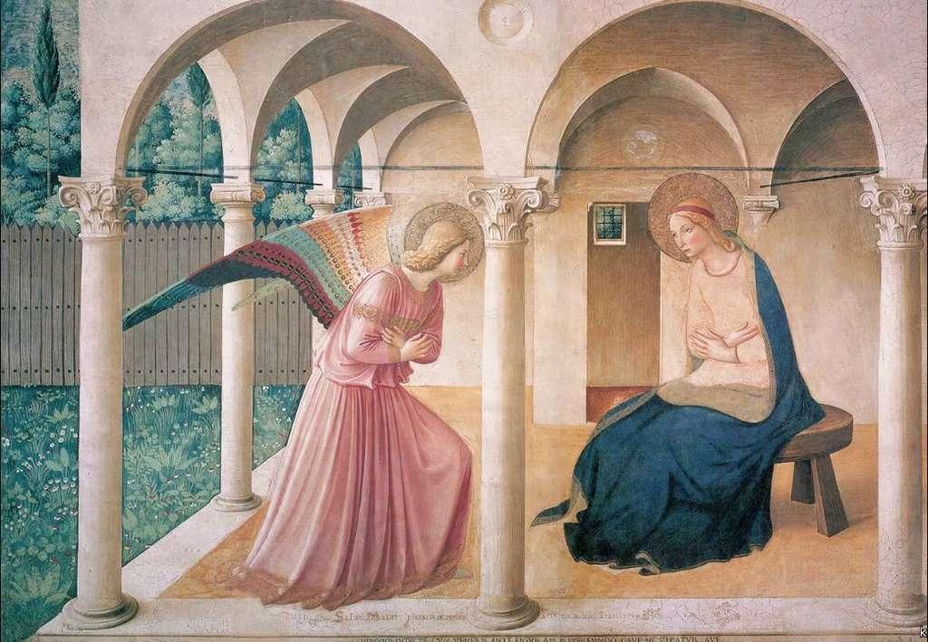 « L'Annonciation » de Fra Angelico, fresque visible en haut de l'escalier menant aux cellules des moines du couvent. © Musée San Marco, à Florence, Wikimedia Commons, DP