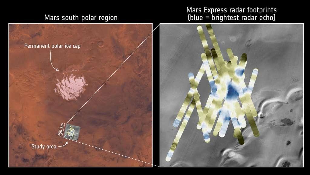 Localisation du réservoir d'eau liquide détecté sous la surface par Mars Express. © Nasa, Viking, Themis, ESA, Nasa, JPL, ASI, Université Rome, R. Orosei et al 2018