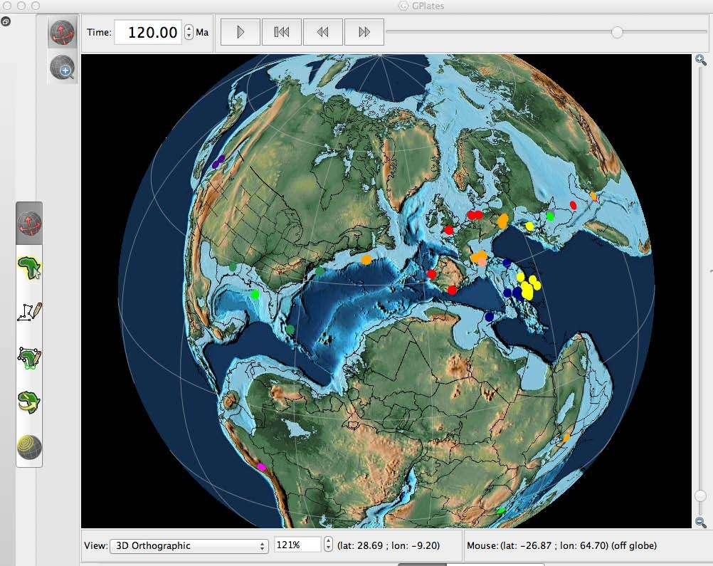 Reconstruction des plaques tectoniques à 120 millions d'années grâce au logiciel GPlate. © GPlate, Earthbyte.org